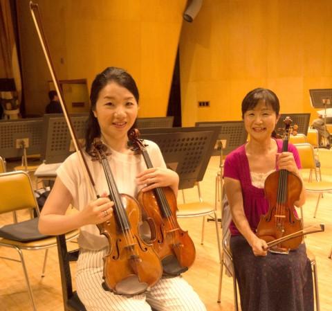 伊藤文乃(コンマス)と2台のヴァイオリン、棚田敦子(ヴァイオリン)